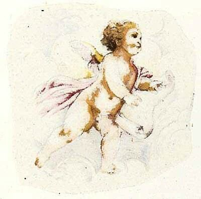 3pc Ceramic Decals Cupid Designs Approx 30mm x 35mm #15
