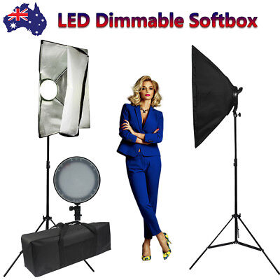 2x45W Softbox LED Lighting Dimmable Photography Studio Soft Box Light Stand Kit