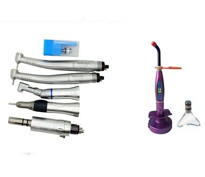 Dental Push Button High Low Speed Handpiece Kit 4 Hole + 5W LED Curing Light