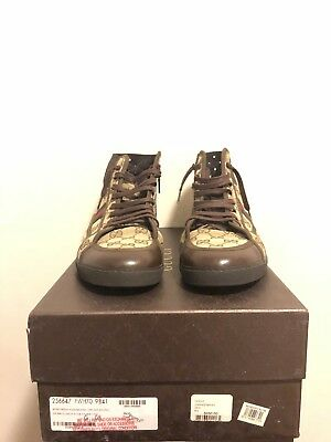 Gucci Retro Hi Top Made In Italy Vintage Beige-Ebony | With Receipt Men's Size 9