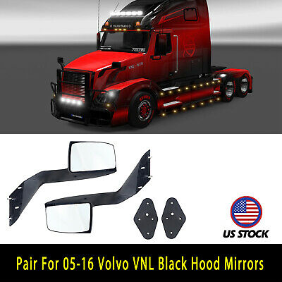 2x Fit 2005-2016 Volvo VNL Hood Left Right Black Rear Mirror W/ Mounting Plates