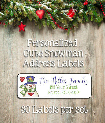 Personalized CUTE SNOWMAN Return Address LABELS Christmas Holiday Labels, 30 per