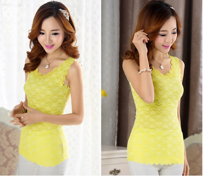 Womens Floral Lace Wave Vest Tank Top Ladies Stunning T-shirt Blouse Yellow