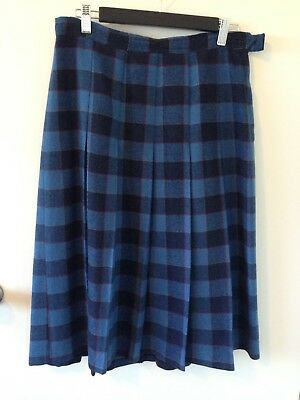 Ladies Vintage SkirtWool Blend Check Pleated Skirt Blue Dalkeith S16(12-14) Vgc