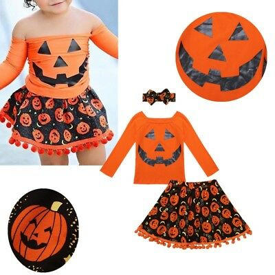 Infant Baby Girls Off Shoulder Halloween Outfit Pumpkin Dress Tassel Tutu Skirt