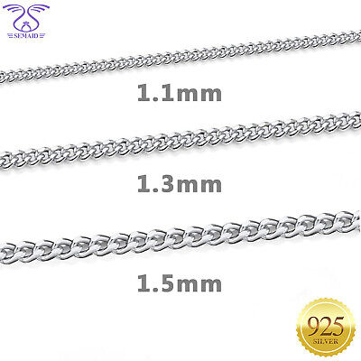 """SEMAID 1.1mm 1.3mm 1.5mm 925 Sterling Silver Necklace Curb Chain 16 18 20 22 24/"""""""