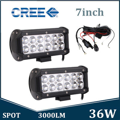 "2X 7""INCH 36W LED Work Light Bar Spot Driving Off-Road Tractor SUV W/ Wiring Kit"