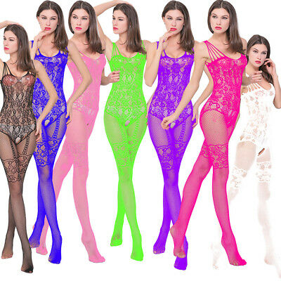 Women's Fishnet Body Stockings Babydoll Sleepwear Sexy Bodysuit Lingerie