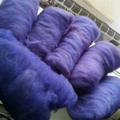 350gm soft Finn X Wool hand carded batts to spin or felt. 6 batts. Purples.