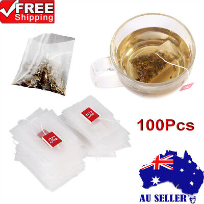 100Pcs New Nylon Empty Tea Infuser Herb Spice Filter Strainer Bags With String A