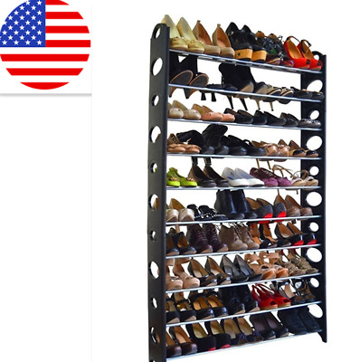 Free 50 Pair 10 Tiers Shoe Tower Rack Space Saving Storage Organizer Adjustable
