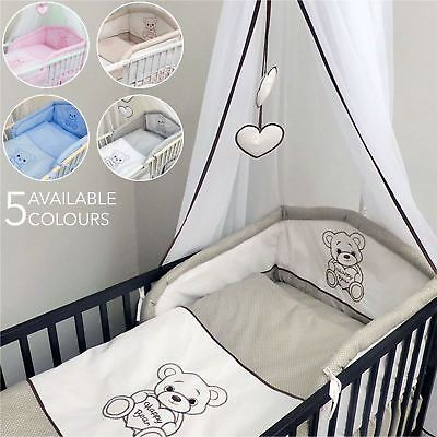 15 Piece Baby Nursery Bedding Set to Fit 120x60 | 140x70 cm Cot Bed - Happy Bear