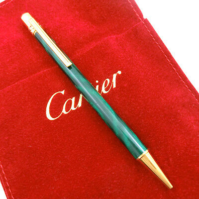 Beautiful Cartier Black x Gold Ballpoint Pen & Box, Guarantee card 100% Auth