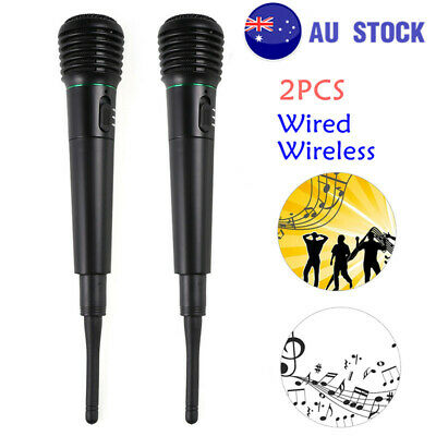 2PCS 2In1 Wired&Wireless Handheld Cordless Microphone MIC Studio System Karaoke