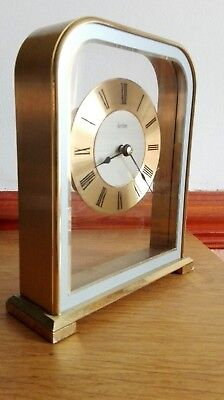 Vintage Acctim Brass & Glass Battery Operated MANTLE CLOCK 16x13cm  West Germany