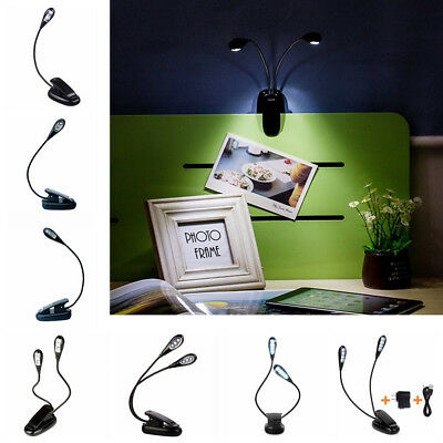 LED Flexible Reading Light Single / Dual Arms Clip-on Beside Bed Table Desk Lamp