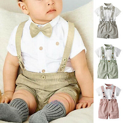 Kids Baby Boys Bowtie Romper Tops Tuxedo Suspender Pants Overalls Wedding Outfit