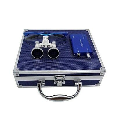 Dental Binocular Loupes 3.5X Blue with LED Headlight + Aluminum Box UK STOCK