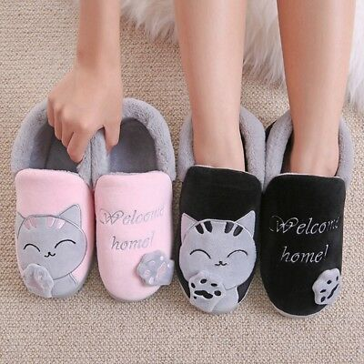Women Winter Warm Home Slippers Cartoon Lucky cat Indoor Floor House Shoes Plush