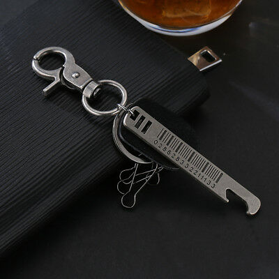 KE_ Men Retro Punk Ruler Hooks Bag Car Key Hanging Keyring Keychain Wide