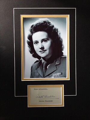 Odette Hallowes - Undercover Agent During Wwii - Signed B/w Photo Display