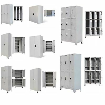 Metal Storage Office Cabinet Cupboard Wardrobe Shelves Locker Steel Multi Doors