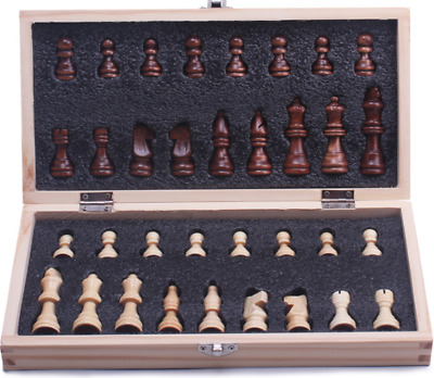 Travel Chess Set Wooden Board Magnetic Game Vintage Folding Portable School gift