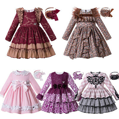 Dress Girls Party Holiday Wedding Dress Spanish Kids Clothes Set Tops And Skirts