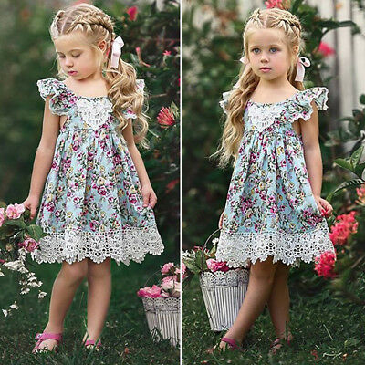 KE_ Toddler Kids Baby Girl Summer Clothes Floral Lace Party Pageant Princess D