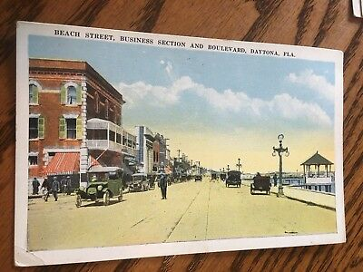 Early 1900s Beach Street, Ford Model T Cars, Daytona Beach, FL Postcard- Unused