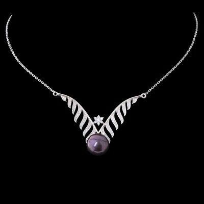 100% Natural 12Mm Tahitian Freshwater Pearl Rare Sterling Silver 925 Necklace