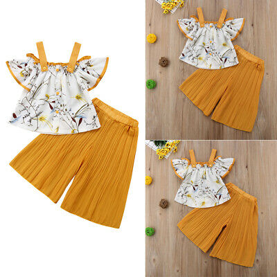 Fashion Kids Baby Girls Outfits Skirts Strap Tops Loose Pants Summer Clothes Set