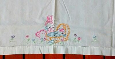 Vintage Hand Embroidered Bunny Baby Toddler Flat Crib Bed Sheet Retro Cotton