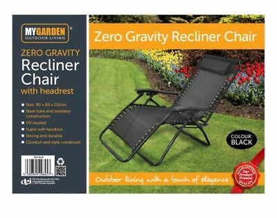 NEW! Folding Reclining Garden Deck Chair Sun Lounger Zero Gravity