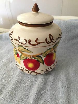 Vintage Nonni's Large Colorful Apple Decorated Biscotti Cookie Jar