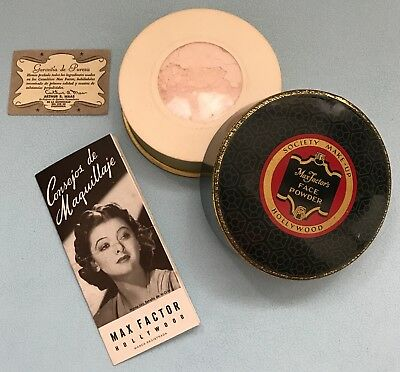 VTG Unused Max Factor's Hollywood Face Powder Metal Tin Sealed with Leaflets