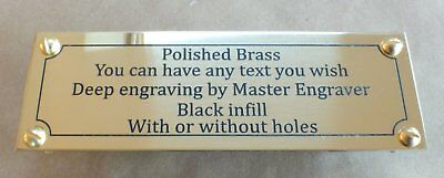 Deep Engraved Brass Name Plate Plaque Black Infill 140x60x1.5mm with or no hole
