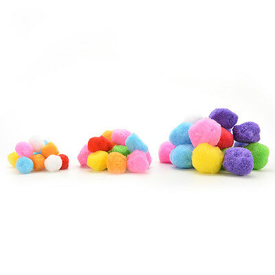 100 Mixed FLUFFY Felt Pom poms Ball Assorted Colors Craft DIY snow balls YJ
