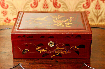 A Good Vintage Chinese Lacquered Jewellery Box, Raised Gilt Decoration