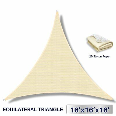 Windscreen4less 16' x 16' x 16' Sun Shade Sail Canopy in Beige with Commercial