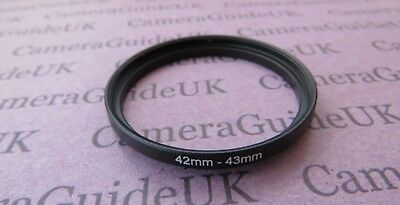 42mm to 43mm Male-Female Stepping Step Up Filter Ring Adapter 42mm-43mm UK