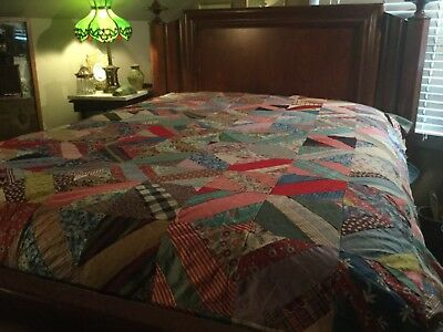 ANTIQUE String Quilt / Newspapers / Flower/Feed Sacks  Fabrics  PIECED QUILT TOP