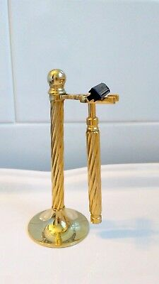 Made in Italy  Solid Brass  Vintage  Razor & Stand Heavy with Turned Handles