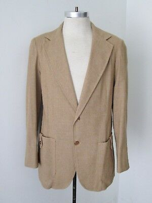 VGC Vtg 80s New Wave Camel Brown Cotton Linen Unconstructed Blazer Jacket M