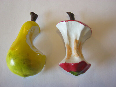Wooden vintage fruit brooches, partially eaten wooden pear & apple retro broochs