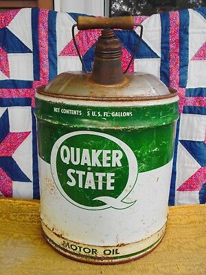 Vintage QUAKER STATE MOTOR OIL 5 Gallon Can Wire/Wood Handle