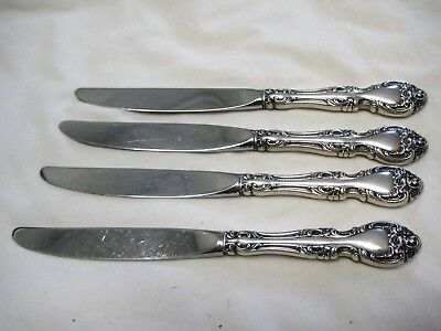 """4 Gorham Sterling Melrose Dinner Knives 8 3/4"""" Long Great Pieces, No Monograms"""