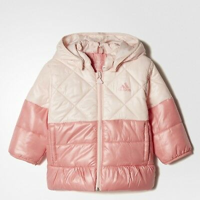 adidas baby girls pink/peach padded coat. Infants coat. Age 3-4 Years.
