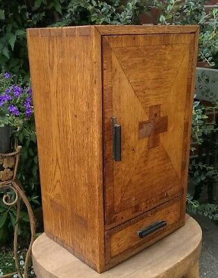 Antique Arts and Crafts Oak  Wall Hung Medicine Cabinet 46 x 28 x 21 cms
