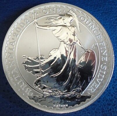 2002 Two Pound Britannia, 1 troy ounce of pure silver + capsule - top grade